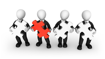 3d business people with puzzle pieces in hands. Teamwork concept. 3d illustration. Stock Photo