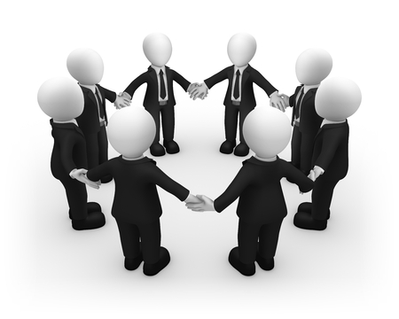 3d business people standing in circle. 3d illustration.