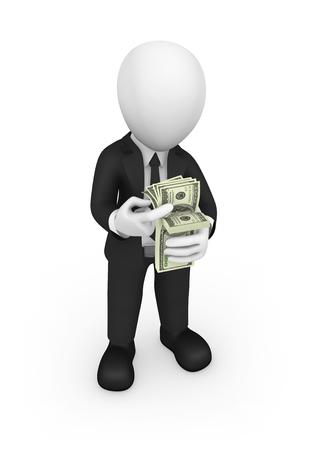 3d businessman counts money. 3d illustration. Stock Photo