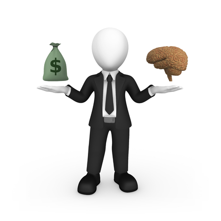 3d white man with brain and money bag. Choice concept. 3d illustration.
