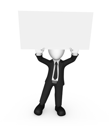 3d business people. Businessman with empty board over head. 3d illustration. Stock Photo