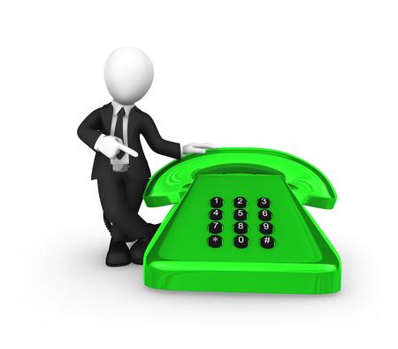 3d business people. Businessman in black suite pointing finger on big green vintage phone. 3d illustration.