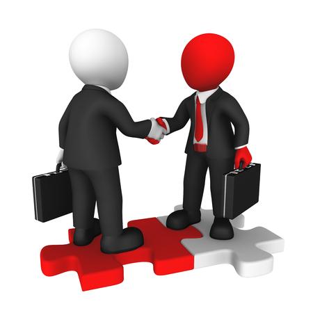 Business handshake on puzzle. 3d rendered illustration.