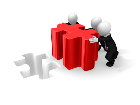 Business people working with big red puzzle. 3d rendered illustration.