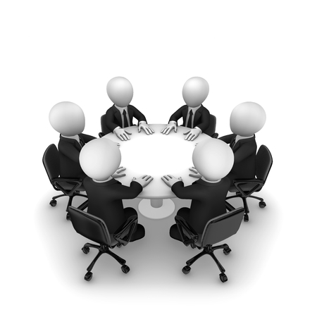 3d business people sit at a round table. Support team. 3d illustration.