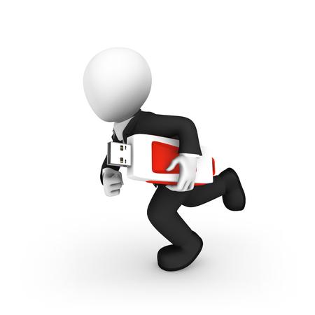 3d small people. 3d man runs with usb flash drive. 3d illustration.