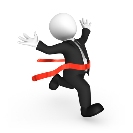 Happy 3d runner and red finishing ribbon. 3d illustration. Stock Photo