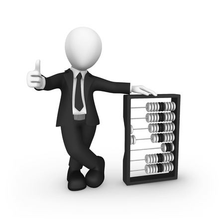 3d businessman with abacus shows thumbs up gesture. 3d illustration.