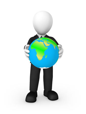 3d business people. Businessman in black suite with Earth in hands isolated on white background. 3d illustration. Stock Photo