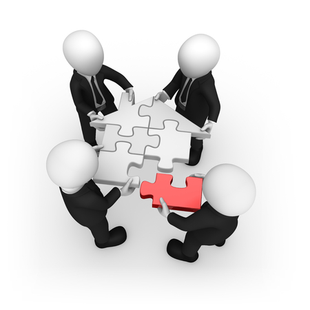 White business people with home puzzle. 3d rendered illustration. Stock Photo