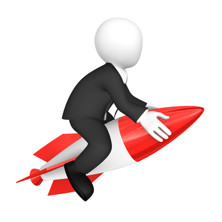 3d white businessman flies, sitting on a rocket. 3d rendered illustration with small people.