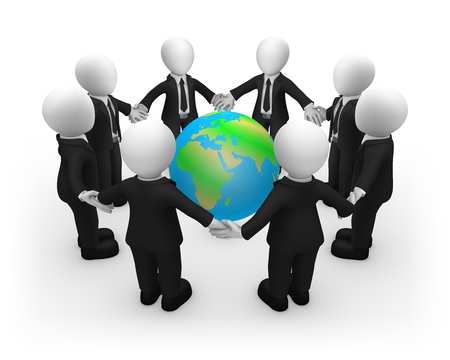 3d business people in black suites and Earth. Ecology concept. 3d illustration. Stock Photo