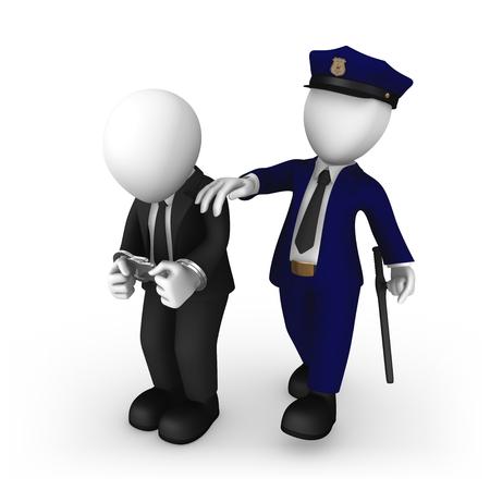 3d rendered white policeman escorts the businessman. 3d illustration. Stock Photo