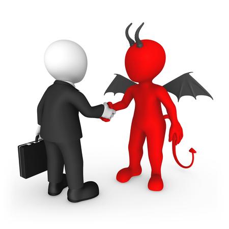 3d rendered white human and red Devil shake hands. 3d illustration.