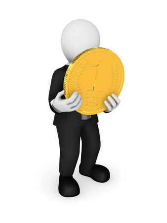 3d person and big golden coin in hands. 3d illustration.