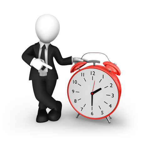 3d business people. Businessman in black suite pointing finger at big red alarm clock. 3d illustration. Stock Photo