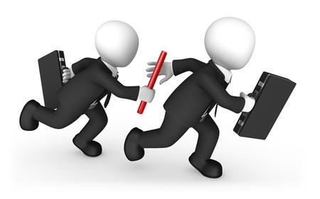 3d zakenmensen met stokje. Teamwerkconcept. 3D illustratie. Stockfoto