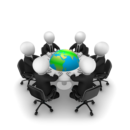 Business people are sitting around a table with Earth. 3d rendered illustration.