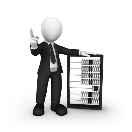 3d businessman with abacus shakes finger. 3d illustration. Stock Photo