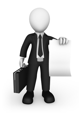 3d business people. Businessman with briefcase and empty poster isolated on white background. 3d illustration.