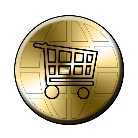 golden e-shop sign over the globe Stock Photo - 3546335