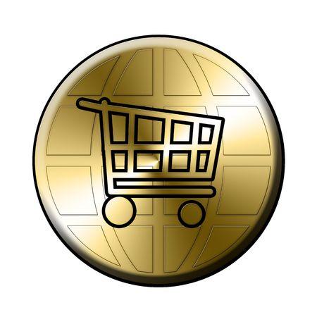 golden e-shop sign over the globe