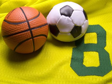 soccer and basketball balls on the uniform Stock Photo