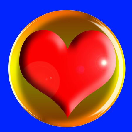 ligh: red heart icon with ligh effects on the blue background Stock Photo