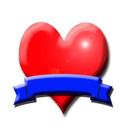 hollyday: Red hearth and blue banner with shadows and light effects Stock Photo