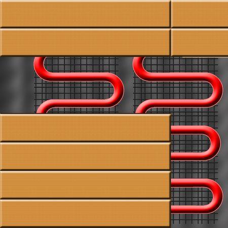 floor heating system under ceramic tiles