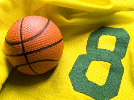 baketball ball on the number eight uniform