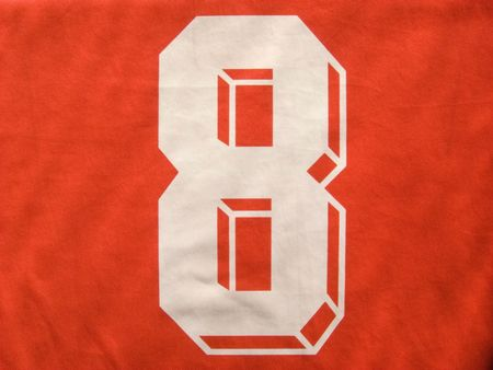 photo of the red and white number eight uniform Stock Photo