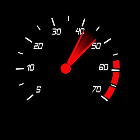 autosport: odometer with white digits and red blured pointer