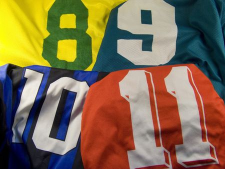 jerseys: four different uniforms with numbers Stock Photo
