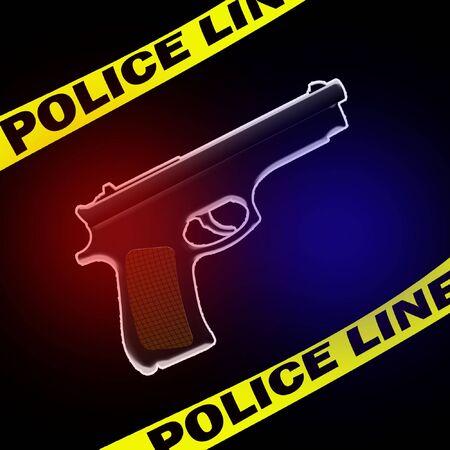 illustration of the crimescene with the gun