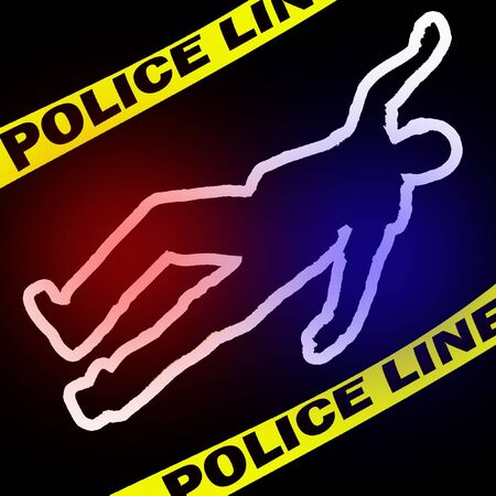 illustration of the crimescene with traced body Stock Photo