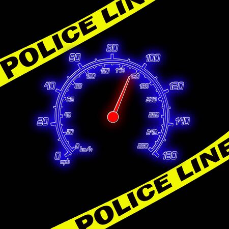 police line and speedometer on the black photo