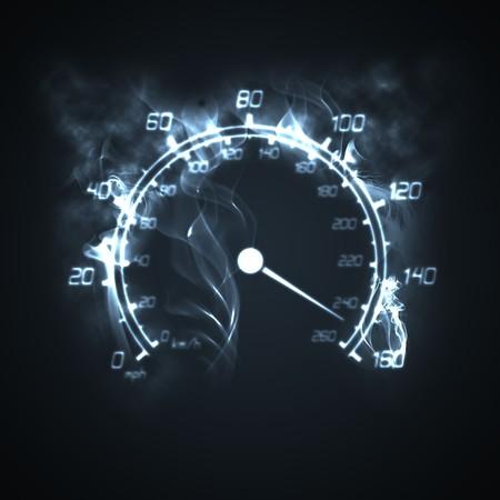 speedometer: illustrazione del tachimetro che brucia nel fumo