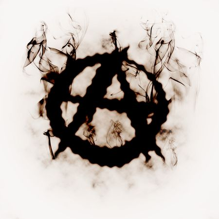 illustration of the anarchy sign in the smoke Stock Photo