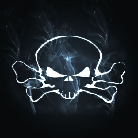 illustration skull and bones in the smoke