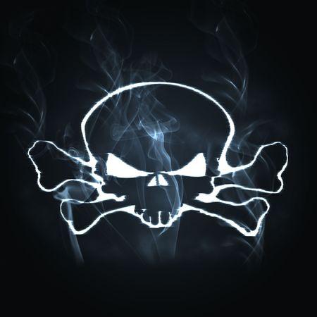 illustration skull and bones in the smoke