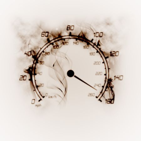 illustration of the burning speedometer in the smoke Stock Photo
