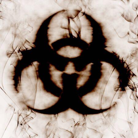 riesgo biologico: ilustraci�n de la se�al de riesgo biol�gico y el humo