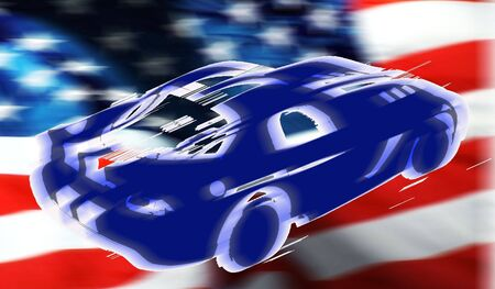horsepower: illustration of the american car on the usa flag Stock Photo