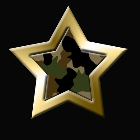 golden star with comouflage inside