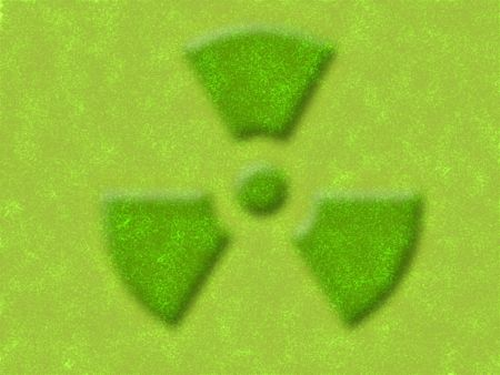 radioisotope: illustration of the yellow and green nuclear sign Stock Photo