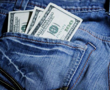 photo of three hudred uza dollars in the pocket photo