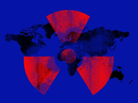 blue black and red nuclear background Stock Photo - 5504183