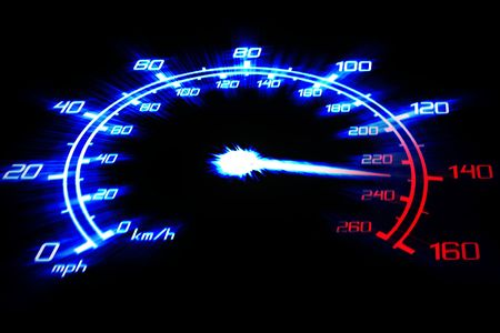 illustration of the speeding car speedometer on the black