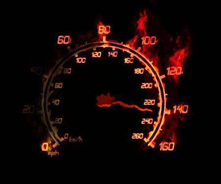 illustration of the burnig speedometer on the black illustration